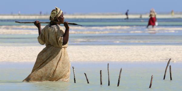 Zanzibar og kvinde i havet